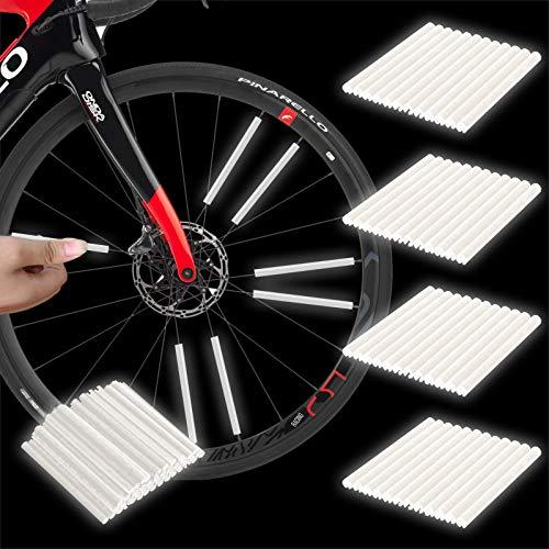 Herefun Reflektor Fahrrad, 48 Stücks Reflektierende Speichensticks Clips, 360° Speichenreflektoren für Fahrradspeichen, Reflektor Speichen Refelktoren, Warnstreifen Reflektoren