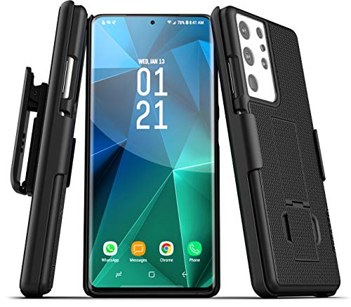 Encased DuraClip Designed for Samsung Galaxy S21 Ultra Belt Clip Case (2021) Slim Phone Cover with Holster - Black