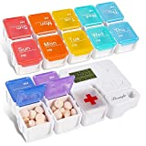 Beainfir Tablettenbox 7 Tage Morgens Abendmit Wecker Alarmfunktion