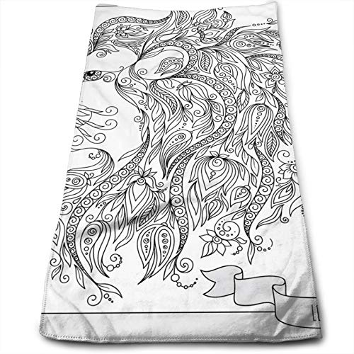 Visage of Zodiac Leo with Flowers On Hair King of Forest Horoscope Theme,Soft Absorbent Hand Towels Multipurpose for Bathroom, Hotel, Gym and SPA (12' x 27.5')