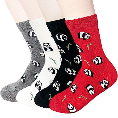 Damensocken mit Katzenmotiv, mit niedlichem Tiermotiv, Hund, Eule, lustiges Geschenk Gr. One size, Animal - Panda 4pcs