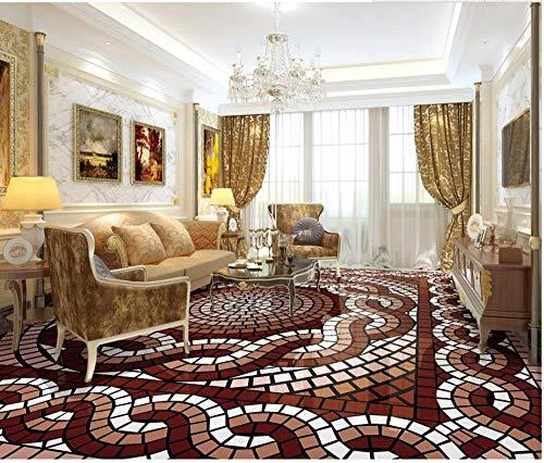 Huisdecoratie Waterdichte Vloer 3D Mode Retro Geometrische Bloem Patroon Vloer Badkamer PVC Behang 300 x 210 cm.