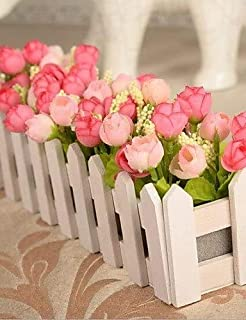WYJW Flores Artificiales, Ramos de Moda, Cercas de Madera de Campo Flores de simulación de Rosas de Alto Grado, Rosa