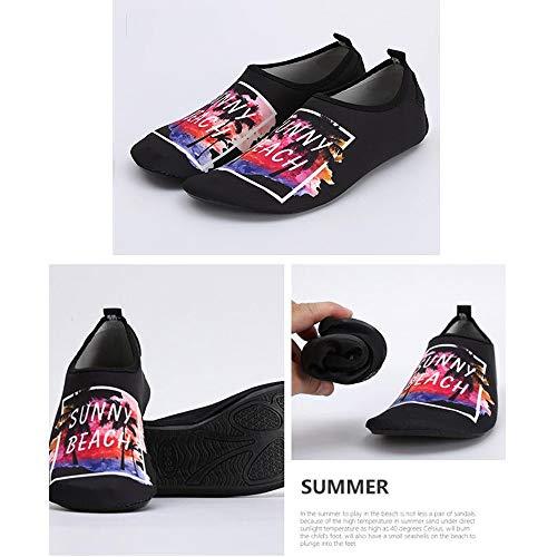 LJJOO Hombres Mujeres Beach Zapatos, Zapatos Aqua Agua Zapatos Zapatos Descalzos de Secado rápido Resistente y Ligera Suela de Goma, for Nado Surf Yoga Playa Corriendo Boating Buceo Snorkel