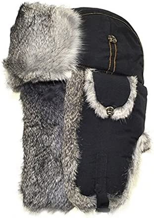Mad Bomber Cold Weather Aviator Pilots Bomber Hat Black with Real Grey Rabbit Fur X Large product image