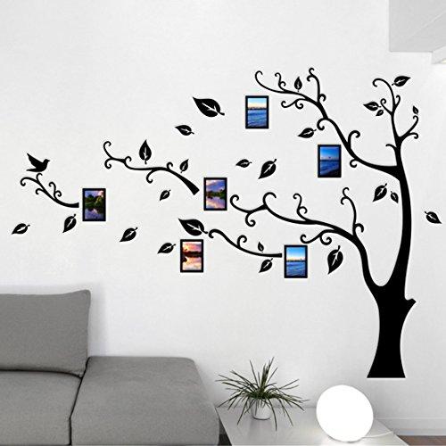 Pegatinas de Pared - 3D Árbol Marco de Fotos DIY Etiqueta Murales Decoración para Salón, Dormitorio, Oficina, Habitación para Niños (S: 100 * 138CM, Negro Derecha)