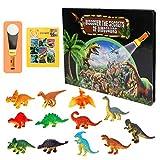 CestMall Juguetes de Dinosaurios para niños, Juego de excavación de Juego de Dinosaurios de 15 Piezas con Rompecabezas, Libro de Dinosaurios para Aprender, Juguete Educativo Preescolar con Linterna
