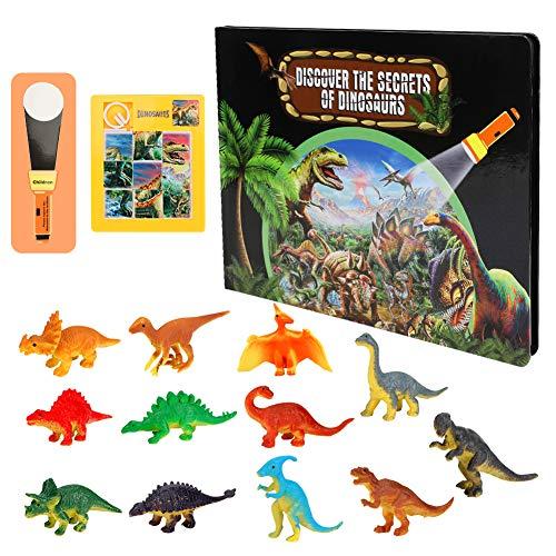 CestMall Dinosaur Toys for Kids, 15 PCS Dinosaur Playset Excavation Kit con Jigsaw Puzzles, Dinosaur Book Learning Educational Preschool Toy con Card Torcia per Ragazzi e Ragazze dai 3 Anni in su