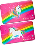 HomeTools.eu® - 2X Einhorn Frühstücks-Brettchen Rainbow Unicorn, Schneide-Brett, Frühstücks-Unterlage, 23 x 14 cm, 2er Set