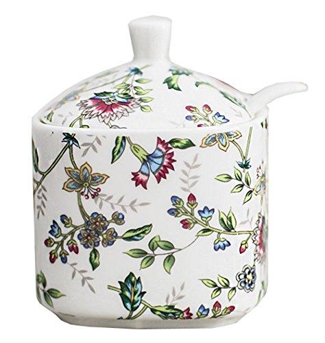 Creative Flowers Printing Ceramic Sugar Bowl Spice Jar with Lid Spoon Seasoning Box Condiment Pots Spice Racks for Kitchen Restaurant