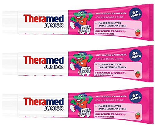 Theramed Junior Erdbeer Zahncreme, 3er Pack (3 x 75 ml)