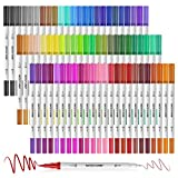 Mogyann 72 Bolígrafos para Colorear Bolígrafos de Doble Pincel Rotuladores de Punta de Fieltro Marcadores de Arte para Adultos y Niños Libros para Colorear Caligrafía Dibujo Tomar Notas