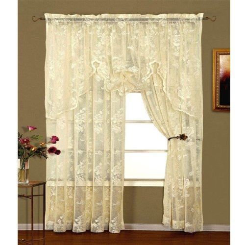 """Abbey Rose Floral Lace Curtain (Ivory, 50"""" W x 84"""" L Panel)"""