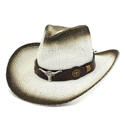 liqun Hombres Mujeres Retro Western Cowboy Riding Hat Cinturón De Cuero Gorra De ala Ancha Sombrero De Hombre Sombreros De Paja Visera para El Sol Шапка Мужская Шляпа Соломенная, Blanco, Talla Única