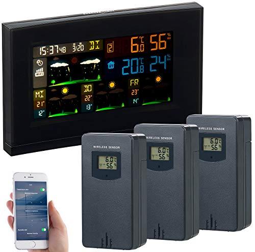 infactory Außenthermometer WLAN: WLAN-Funk-Wetterstation mit 3 Außensensoren, Farbdisplay, Uhr und App (WLAN Thermometer Gewächshaus)