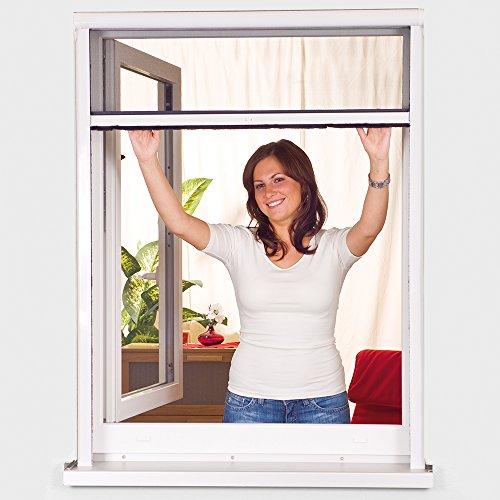 Power-Preise24 Insektenschutz-Fenster Rollo smartLINE in Weiß Fenster PVC Insektenschutzrollo mit Fiberglas Fliegengitter in Anthrazit, Größe:125 x 150 cm