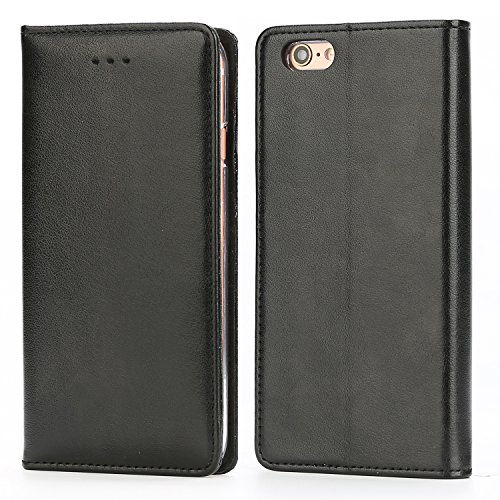 Funda iPhone 6 / 6S, IPHOX Cuero Fundas iPhone [Ranuras para Tarjetas][Cierre Magnético] [Soporte Plegable] [Ultra-Delgado]TPU Parachoques Cover Para Apple iPhone 6S / 6(Black)