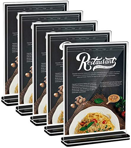 Acryl Tischaufsteller 5 Stück Menükartenhalter Werbeaufsteller aus Acryl für Bilderrahmen, Werbeaktionen, Restaurants, Dokumente (A5)
