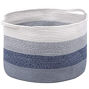 Modernetic Cotton Rope Basket – Large Decorative Woven Storage Blanket Basket Bin with Handles For Organizing Baby Nursery, Dog Toy, Stuffed Animal or Laundry