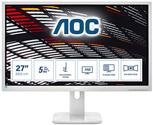 AOC 27P1/GR - 27 Zoll FHD Monitor, höhenverstellbar (1920x1080, 60 Hz, VGA, DVI, HDMI, DisplayPort, USB Hub) grau