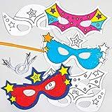 Baker Ross Masques Super-Héros à colorier (Lot de 6) - Idéal pour le carnaval