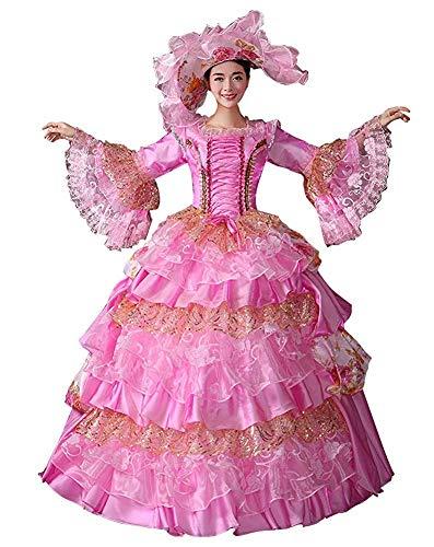 Rokoko Barock Marie Antoinette Ballkleider 18. Jahrhundert Renaissance Historische Zeit Viktorianisches Kleid Gewand Mittelalter Kleid - - XX-Large :Höhe 67-69 Bust 46-48 Taille 39-41