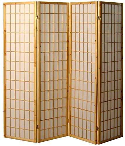 Cinius Paravent - Raumteiler - Holz Trennwand Shoji in Natur Reispapier weiß mit 4 Stuecken. Modell Tatami Natural Farbe