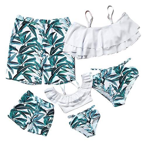 mama stadt Traje de Baño Familiar Conjunto Hoja Estampado 2pcs Bikini Madre e Hija Iguales,Bañador Padre e Hijo Trajes de Playa