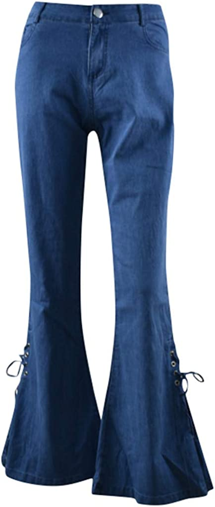 Jeans for Women,Women's Casual Pure Color Elastic Plus Loose Denim Bow Casual Boot Cut Pant Jeans