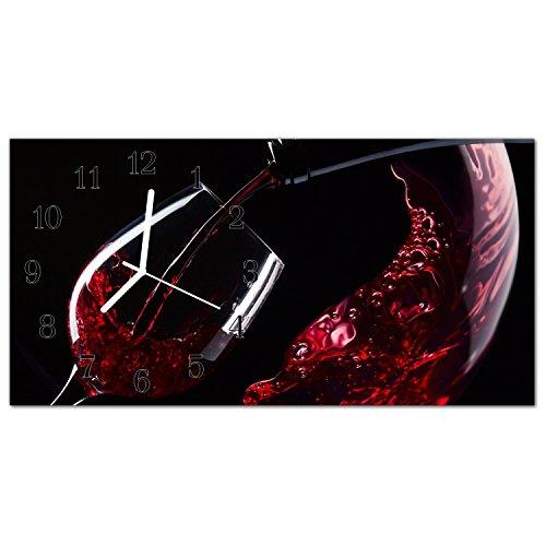 DekoGlas Glasuhr 'Weinglas Rot' Uhr aus Echtglas, eckig große Motiv Wanduhr 60x30 cm, lautlos für Wohnzimmer & Küche
