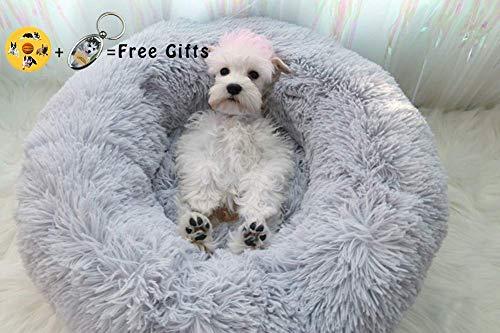 Lamzoom Hundebett, warm, weiches Plüsch, bequemes Haustierbett, waschbar, wasserdicht, rund, Plüsch, Donut-Nest, Bett weiches Kissen