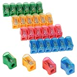 gsnma 96 PCS Bulk Plastic Pencil Sharpener with Removable Neon Colored Lids,Plastic Mini Handheld Pencil Sharpener for School and Classroom Supplies