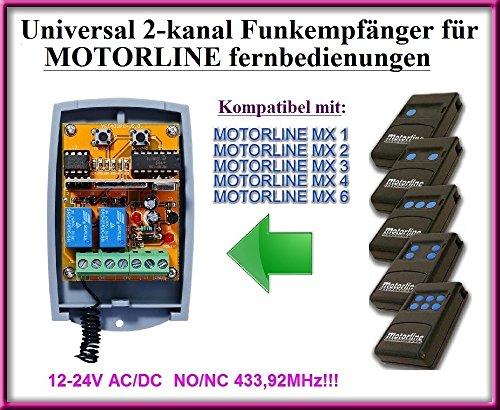 Motorline kompatibel Funkempfängermodul im Gehäuse, 2-kanal universal Empfänger für Motorline MX1 / MX2 / MX3 / MX4 / MX6 fernbedienungen. 12-24V AC/DC, NO/NC 433.92Mhz rolling / fixed code
