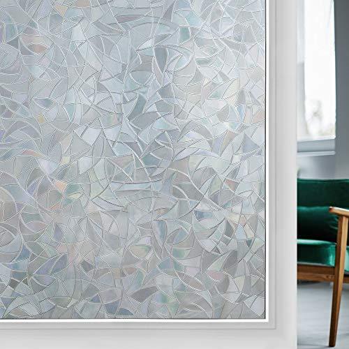 rabbitgoo Fensterfolie Anti-UV Sichtschutzfolie 65% Wärmeisolierung Dekorfolie Statisch Fenster Folie für Büro Zuhause ohne Klebstoff Einseitiger Sichtschutz-Effekt 44.5 X 200CM