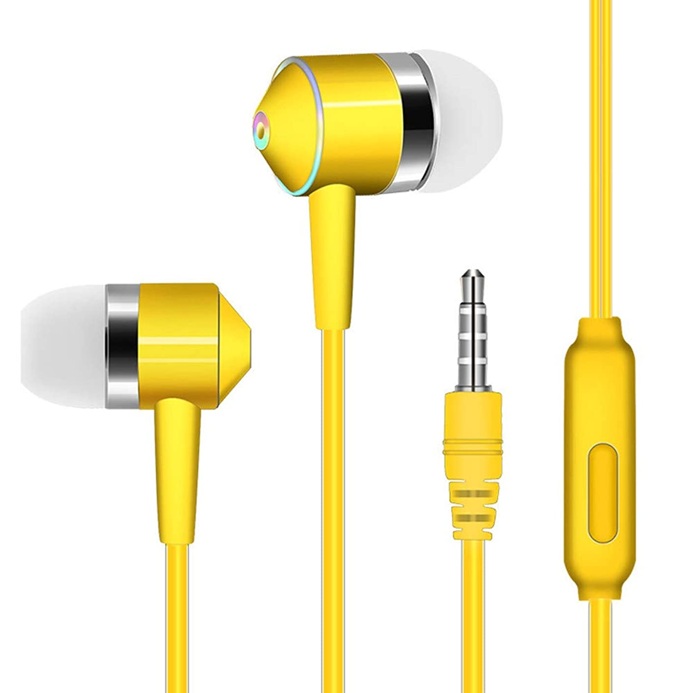 3.5mm Wired Earphone, Stheanoo Wire Piston Dual-Driver Headphone In-ear Stereo Headset Sport Colorful Earphone With Mic for Cell Phone Computer (Yellow)
