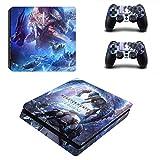 46 North Design Playstation 4 PS4 Slim Folie Skin Sticker Konsole Monster aus Vinyl-Folie Aufkleber Und 2 x Controller folie