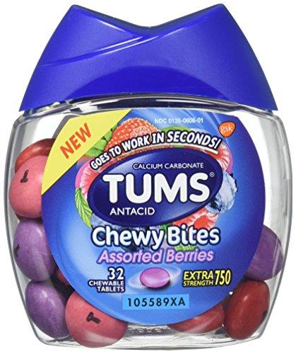 Tums Antacid Chewy Bites, Bayas surtidas, 32 tabletas masticables (paquete de 2) Antiácidos de fuerza extra