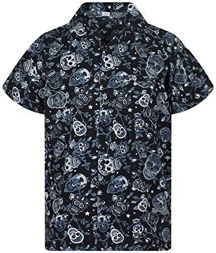 Original King Kameha   Funky Camisa Hawaiana Señores   XS-12XL  Manga Corta Bolsillo Delantero   impresión De Hawaii  Skull