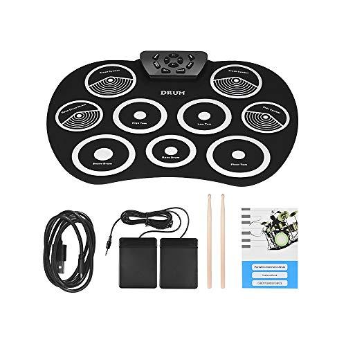 XYL Elektrisches Schlagzeug Elektronische Handtrommel Übungspads Tragbar Schlagzeug Doppelpedal Silikonmaterial Echt Angriffsgefühl Geeignet für Anfänger,Black