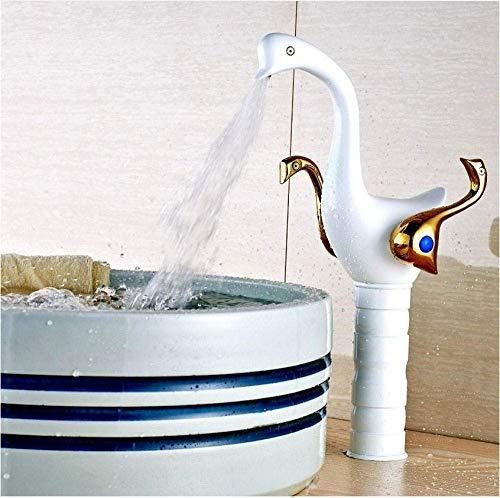 LHQ-HQ Grifo de la cubierta de montaje blanco pintura latón macizo lavabo grifo con mango dorado fregadero mezclador