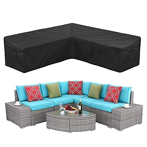 Durable Garden Rattan Corner Furniture Cover, L Shape Cover Heavy Duty Oxford Fabric, Waterproof Anti-UV Dustproof Sofa Protect With Storage Bag, Patio Sofa Furniture Couch Cover(215*215*78*87CM)