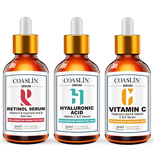 COSLAN Anti Aging Serum 3-Pack for Face- Face Serum Full Regimen-Vitamin C Serum, Retinol Serum, Hyaluronic Acid Serum