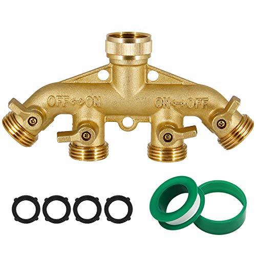 Triumpeek 4 Way Brass Hose Splitter, Heavy Duty 4-Way Garden Hose Connector 3/4 Inch, Solid 4 Way Hose Adapter