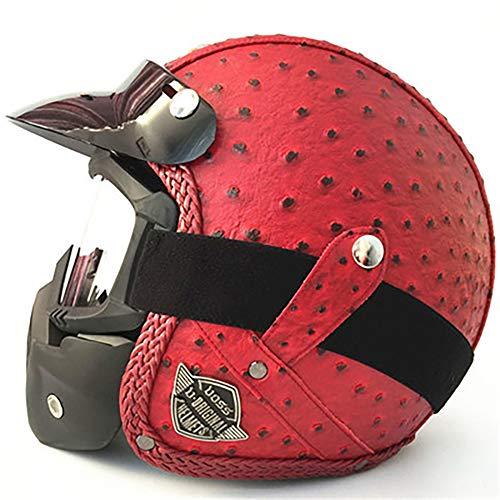 LGPNB Erwachsenen-Helm, Leder, handgefertigt, Jahreszeiten, Vintage-Stil, Harley-Helm, Motorrad, Auto, 3/4 Helm für Erwachsene, CE-Zertifiziert