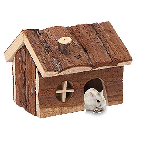 KIH Hamster Wooden House,Natural Chewable Wooden Hut Play House Toy Hideout cage for Pet Rat Gerbil Small Pets (S)