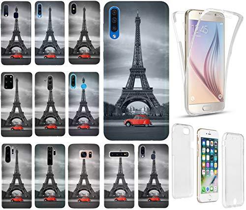 KX-Mobile Hülle für Huawei P30 Lite Handyhülle Motiv 216 Eifelturm Paris Schwarz Rot Auto Premium 360 Grad Fullbody SchutzHülle Softcase HandyCover Handyhülle für Huawei P30 Lite Hülle