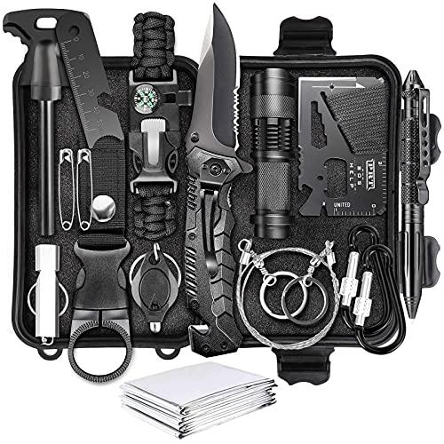 Kit de supervivencia 17 en 1, equipo y equipo de supervivencia, herramientas de supervivencia de emergencia, regalo de cumpleaños para hombres, papá, esposo, novio, con cuchillo de caza / lint