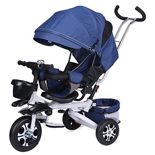 QINJIE Triciclo para niños Bicicleta Plegable Cochecito de bebé Bicicleta Walker,Azul