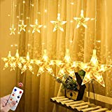 Star Curtain String Lights, 12 Star 138 LED Window Lights Waterproof 12 Strings with 8...