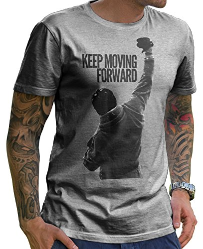 Stylotex Herren T-Shirt Basic Keep Moving Forward (3714), Farbe:Heather, Größe:XL
